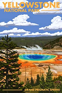 product image for Yellowstone National Park, Wyoming, Grand Prismatic Spring 48335 (16x24 SIGNED Print Master Art Print, Wall Decor Poster)