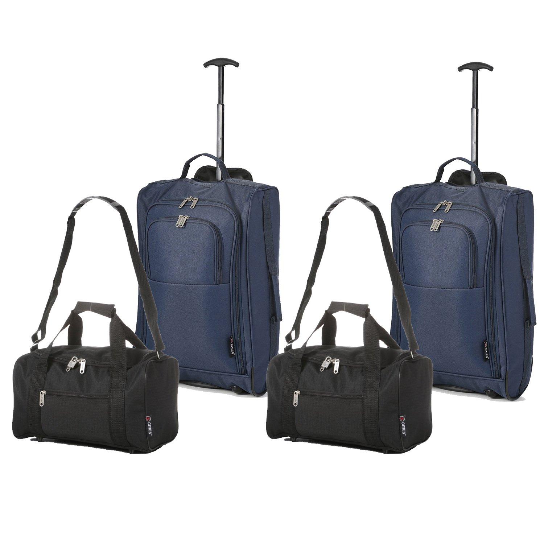2X Ryanair Kabinengepäck 55x40x20cm & 2X Reisetasche 35x20x20, Handgepäck Set - Nehmen Sie Beide mit! (Marineblau & Schwarz)