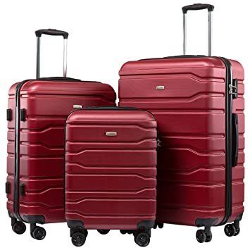 d216f750ca47 Seanshow Luggage 3 Piece Set Suitcase Hardside Spinner Luggage Set 20in  24in 28in Burgundy