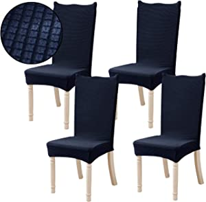 Ogrmar 4PCS Stretch Removable Washable Dining Room Chair Protector Slipcovers/Home Decor Dining Room Seat Cover(Navy)