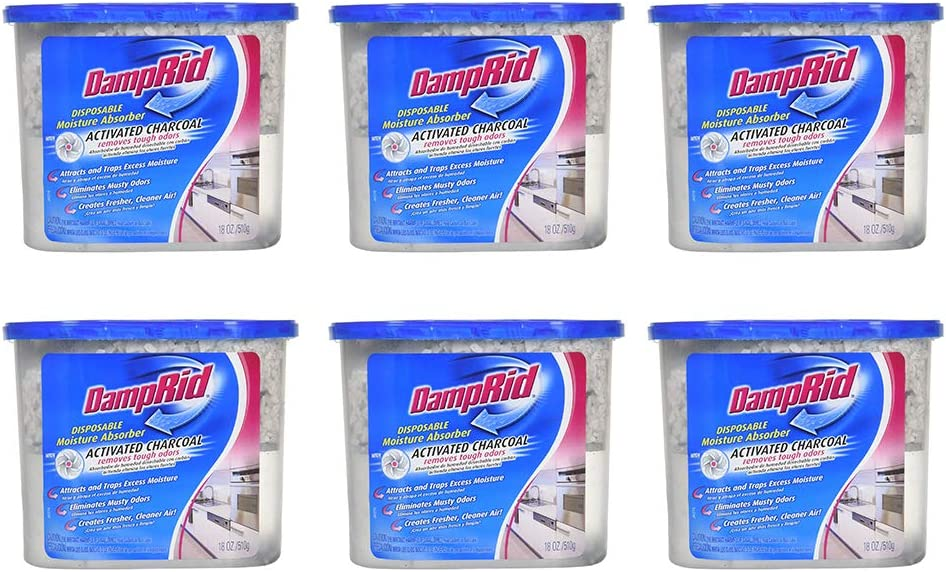 DampRid Moisture Absorber with Activated Charcoal, 18oz Pack of 6