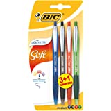 BIC Atlantis Soft Stylos-bille - Couleurs Assorties, Blister de 3+1