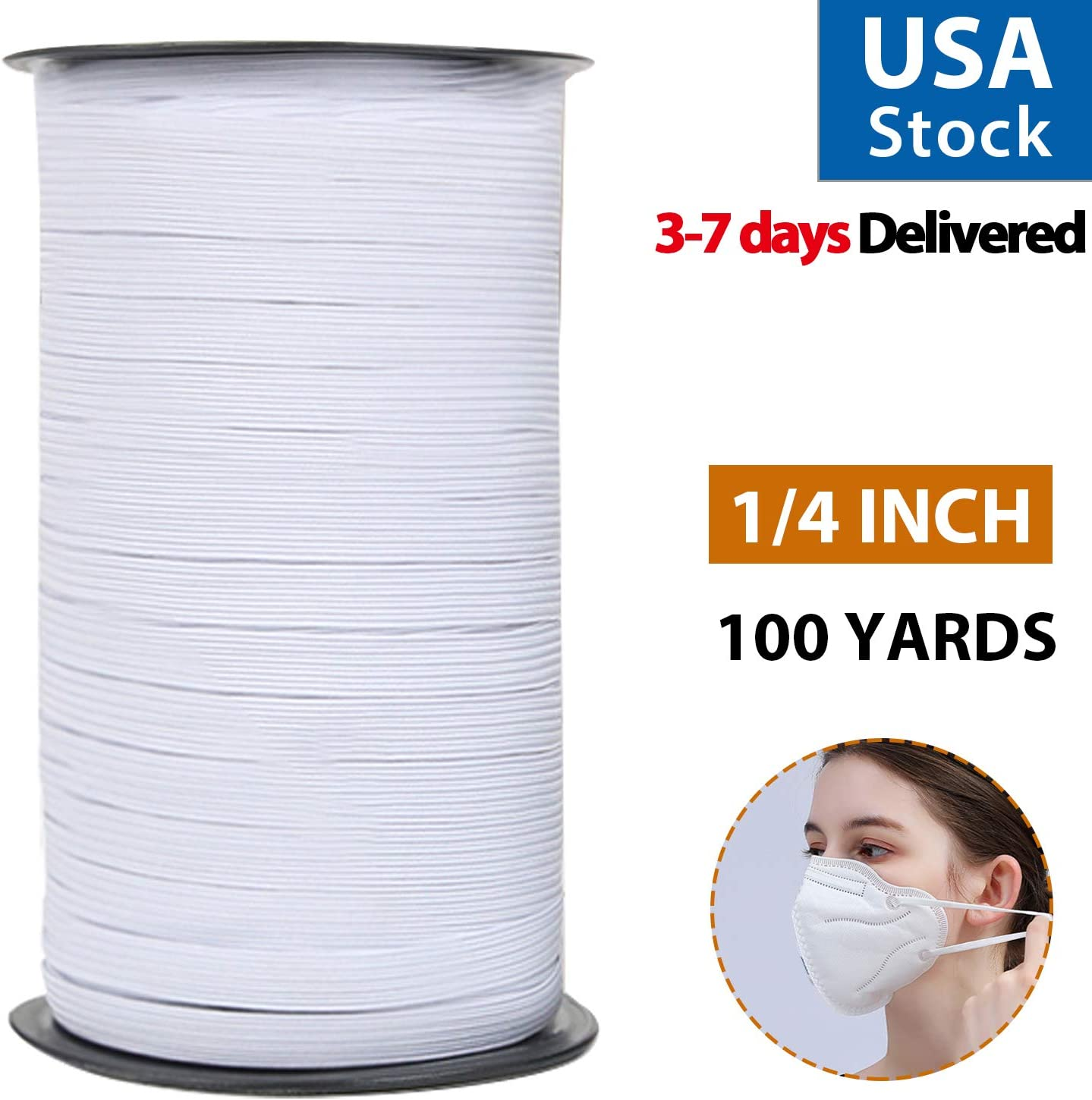 100 Yards 1//4 Inch Width Braided Elastic Band-Elastic Rope Bungee White Elastic Spool Elastic String Cord for DIY Sewing Crafts Weaving Bedspread Cuff and More