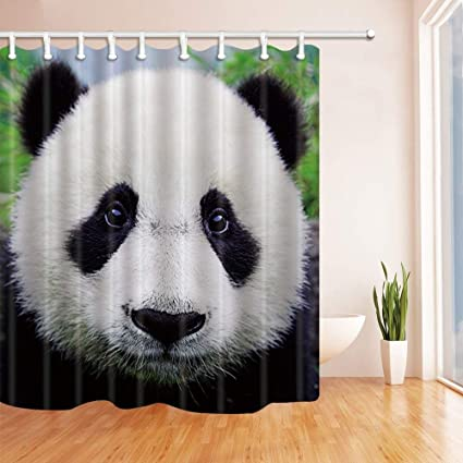 CdHBH Asian Animals Decor Collection Panda Bear Shower Curtains Polyester Fabric Waterproof Bath Curtain 71X71 In