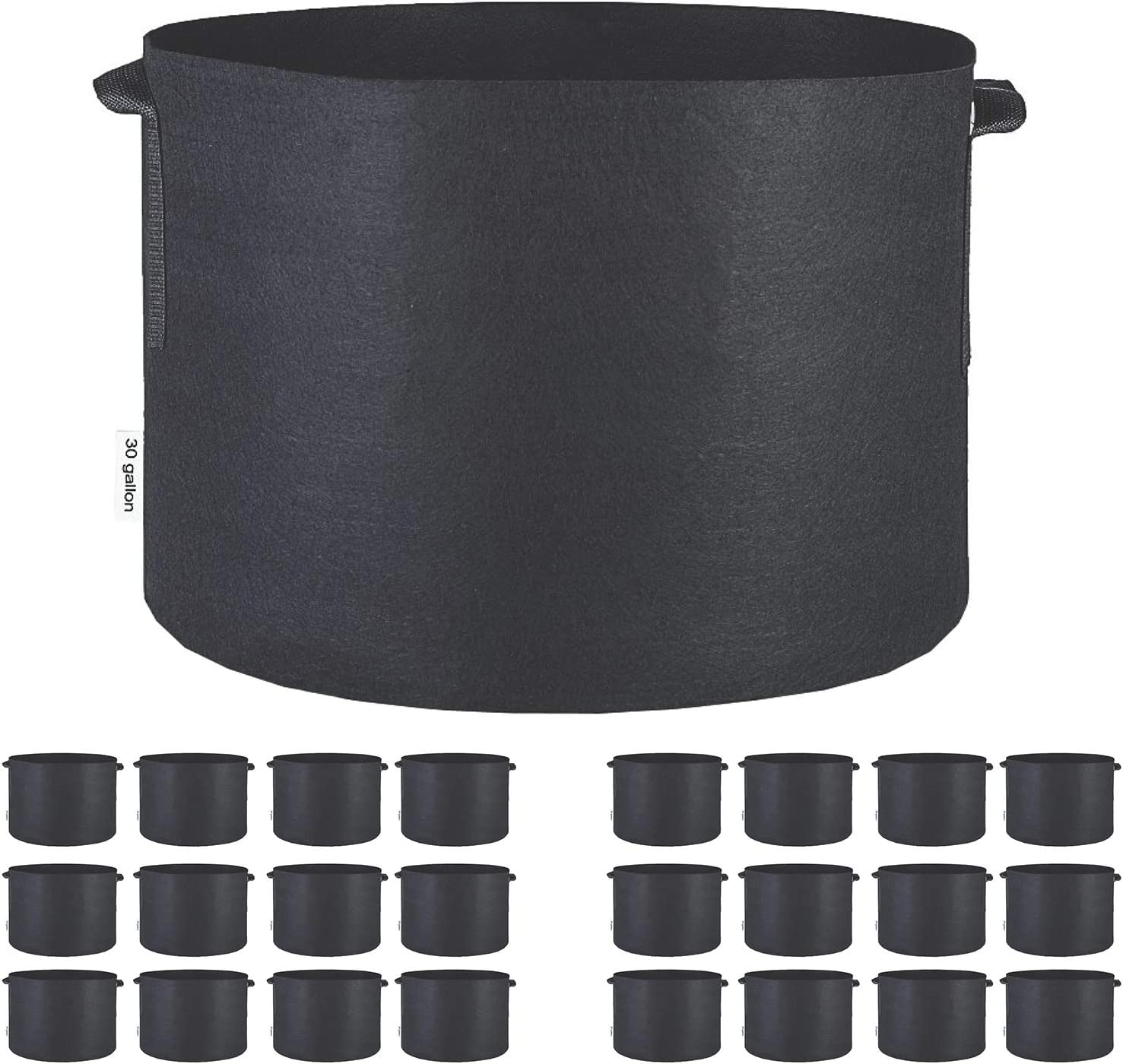 TopoGrow 24-Pack 30 Gallon Grow Bags Black Fabric Round Aeration Pots Container for Nursery Garden and Planting Grow (30 Gallon, Black(24-Pack))