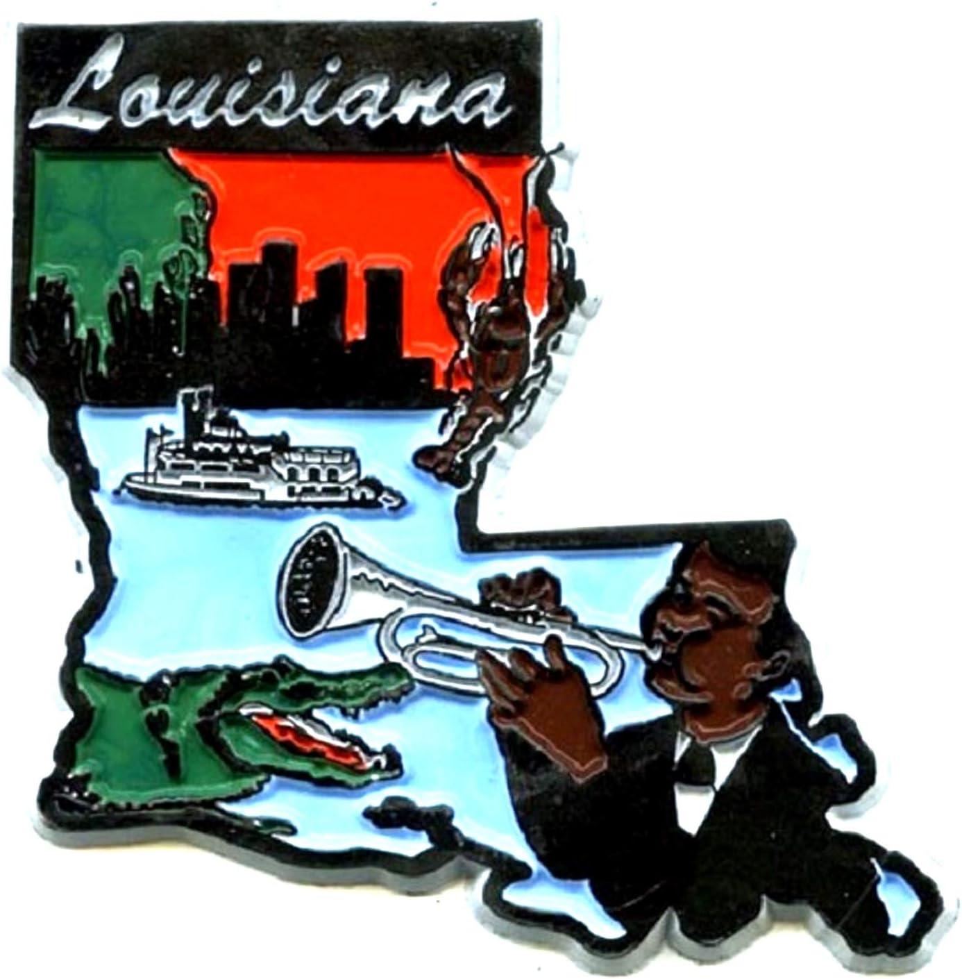 Louisiana 6 Color United States Fridge Magnet