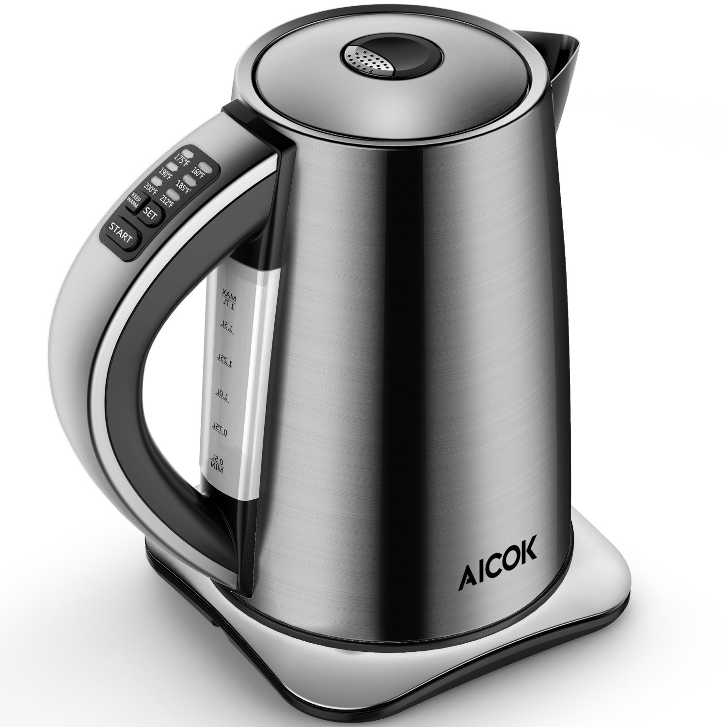AICOK Electric Kettle Variable Temperature Stainless Steel Tea Kettle, Cordless Electric Water Kettle with 1500W SpeedBoil, Auto Shut Off and Boil-Dry Protection, 1.7-Liter Boiler