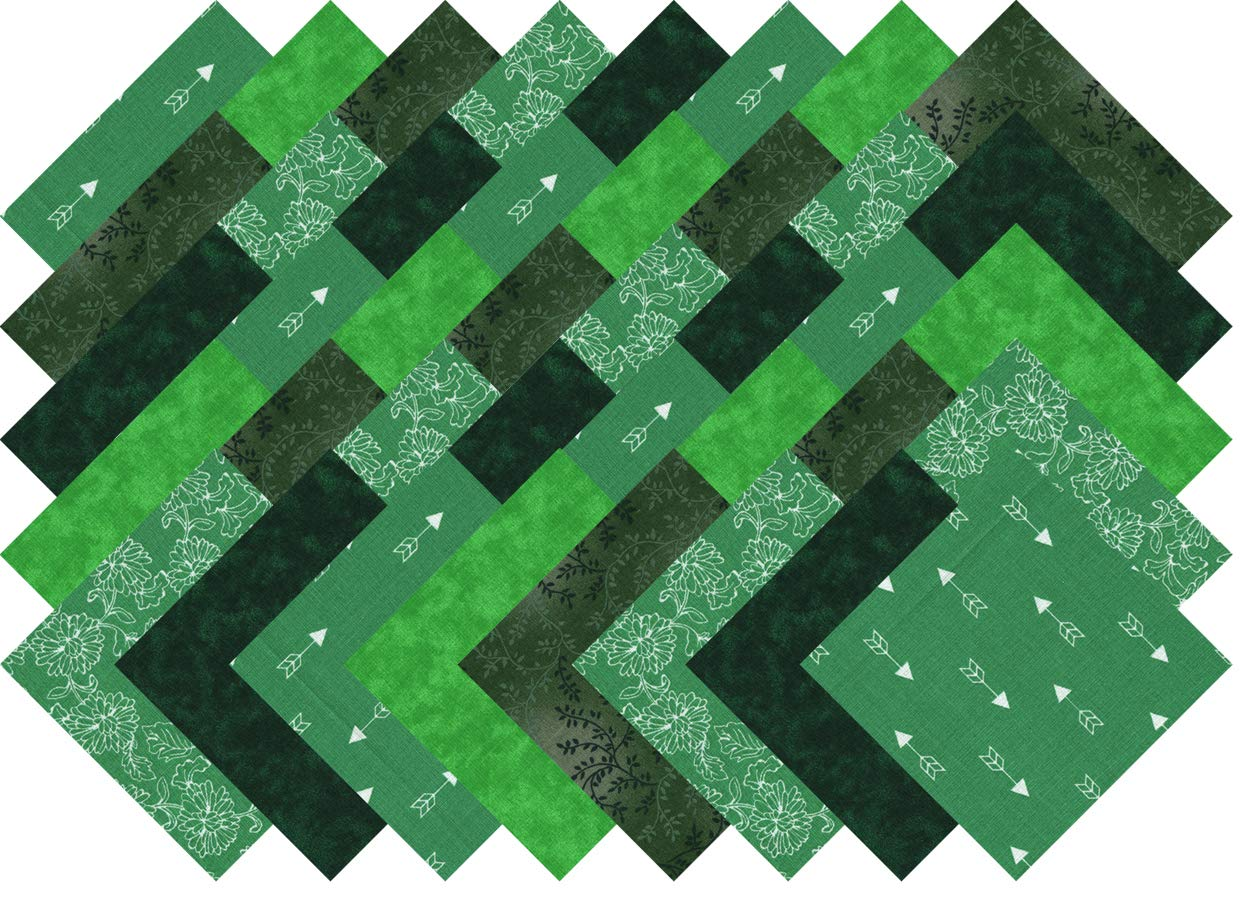 Green Blenders Collection 40 Precut 5-inch Quilting Fabric Squares Charm Pack Ducat Direct