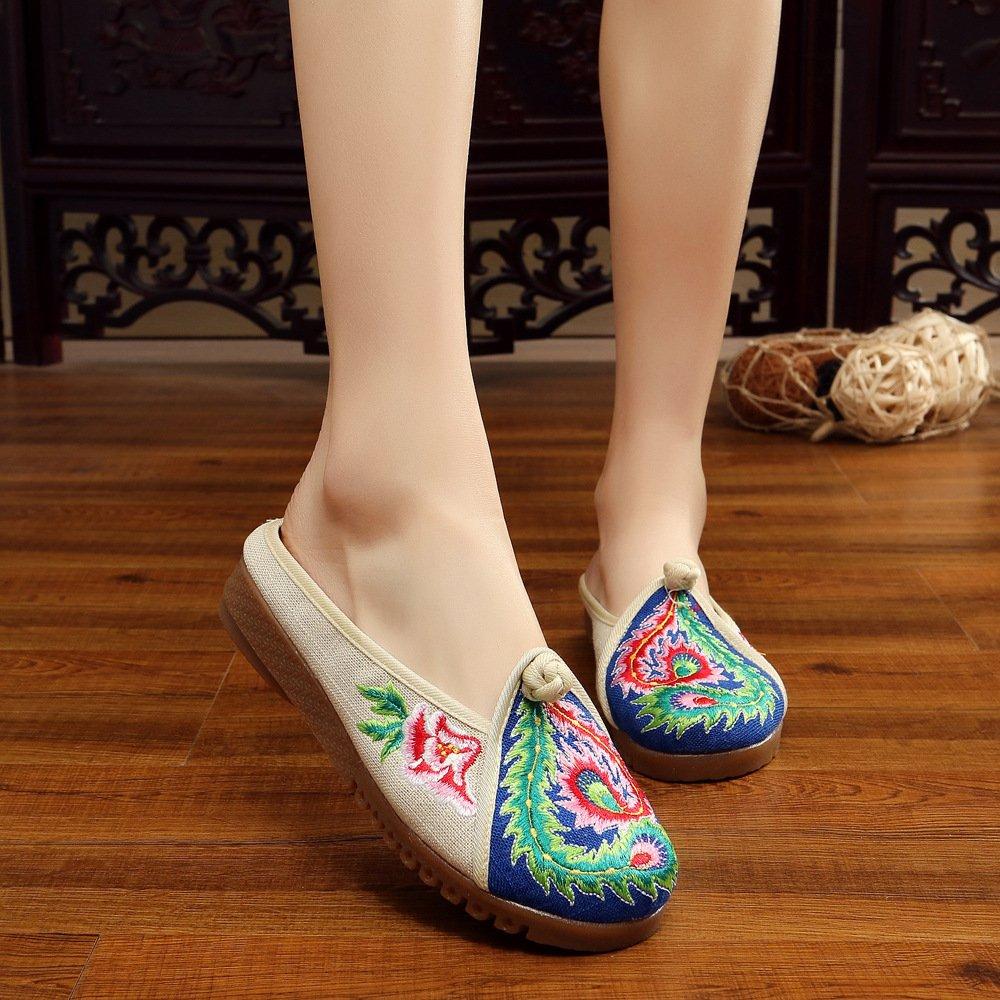 LTQ&QING new-Chaussures brod¨¦es, semelle tendineuse, style ethnique, flip flop f¨¦minin, mode, confortable, sandales d¨¦contract¨¦es, beige, 39