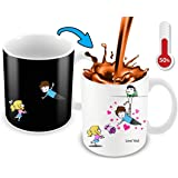 Heat Sensitive Color Changing Coffee Mug | Funny Coffee Cup | Flying Lovely Cartoon Couple Design | Funny Gift Idea