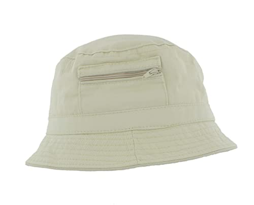 cb5dc99f5c450 The Hat Company Mens 100% Cotton Bucket   Bush Sun Hat with zip pocket A185