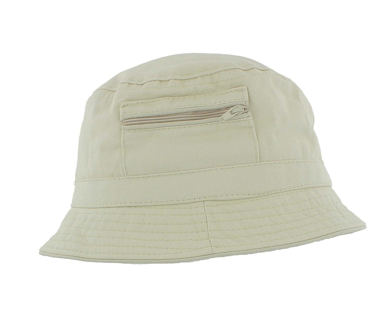 Bush Sun Hat with zip pocket A185 The Hat Company Mens 100/% Cotton Bucket