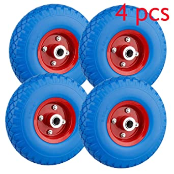 Miafamily Rueda de poliuretano 3.00 - 4 ruedas de rueda para carretilla, neumático de goma