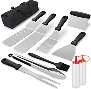 Hawanik Griddle Accessories Tool Kit Flat Top Grill Spatula Set,BBQ Grill Cooking Tools with Stainless Steel Scraper Spatula for Barbecue,Camping