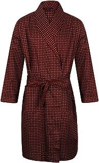Somax Men's Luxury Lightweight Cotton Dressing Gown – Wine Diamond Pattern