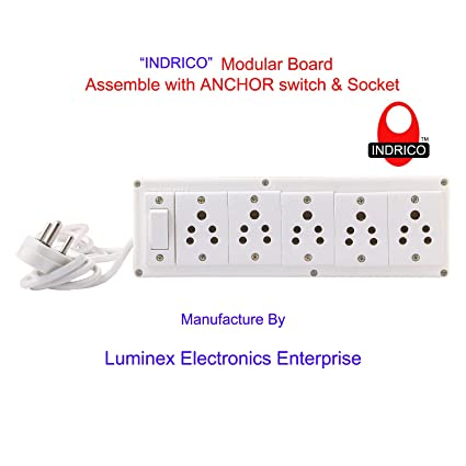 INDRICO Extension Electric Switch Board Wire With 5 Anchor Socket [6A] And One Switch [6A-Anchor] And 3 Pin Plug [5 Meter Extension Cord]
