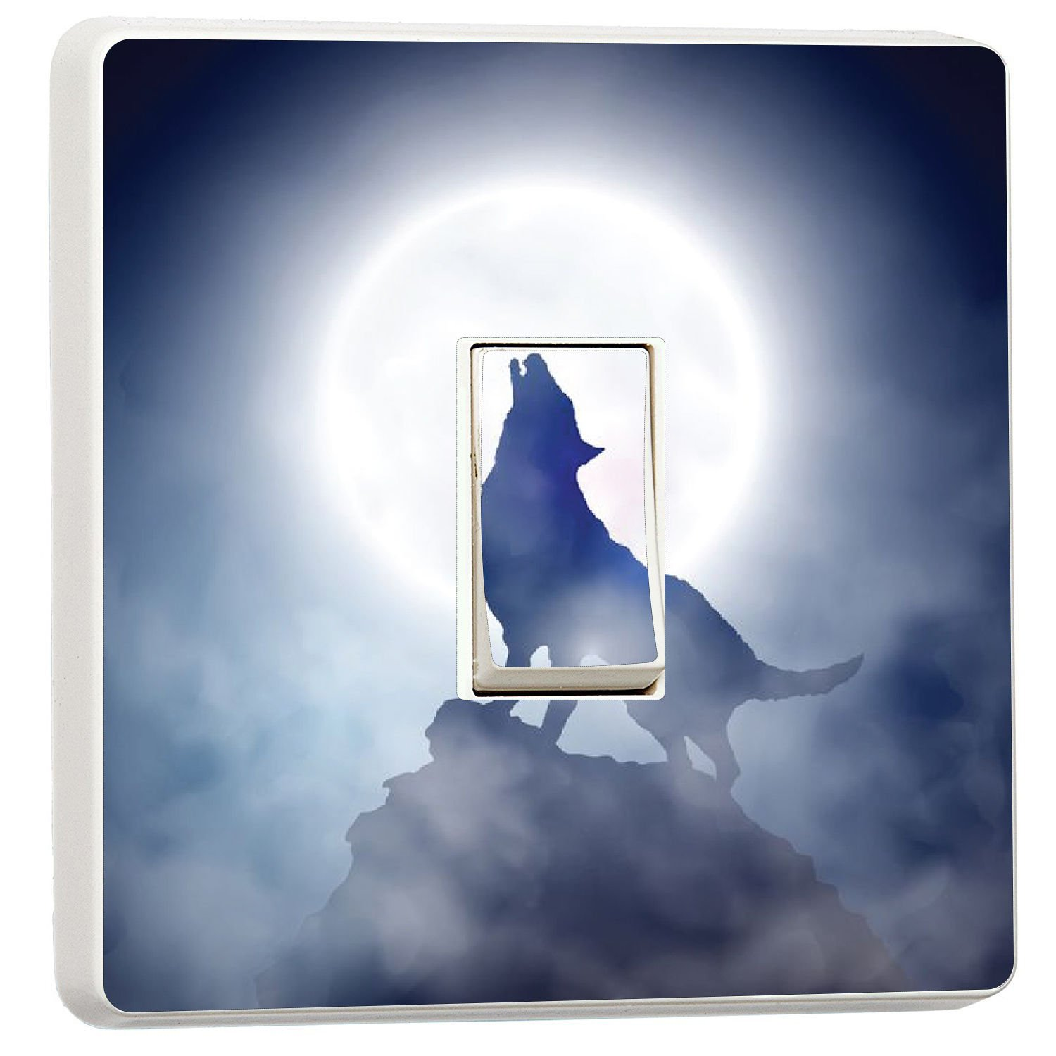 Lone Wolf howling at the Moon light switch sticker cover (15484064) wolf wmoltdTM
