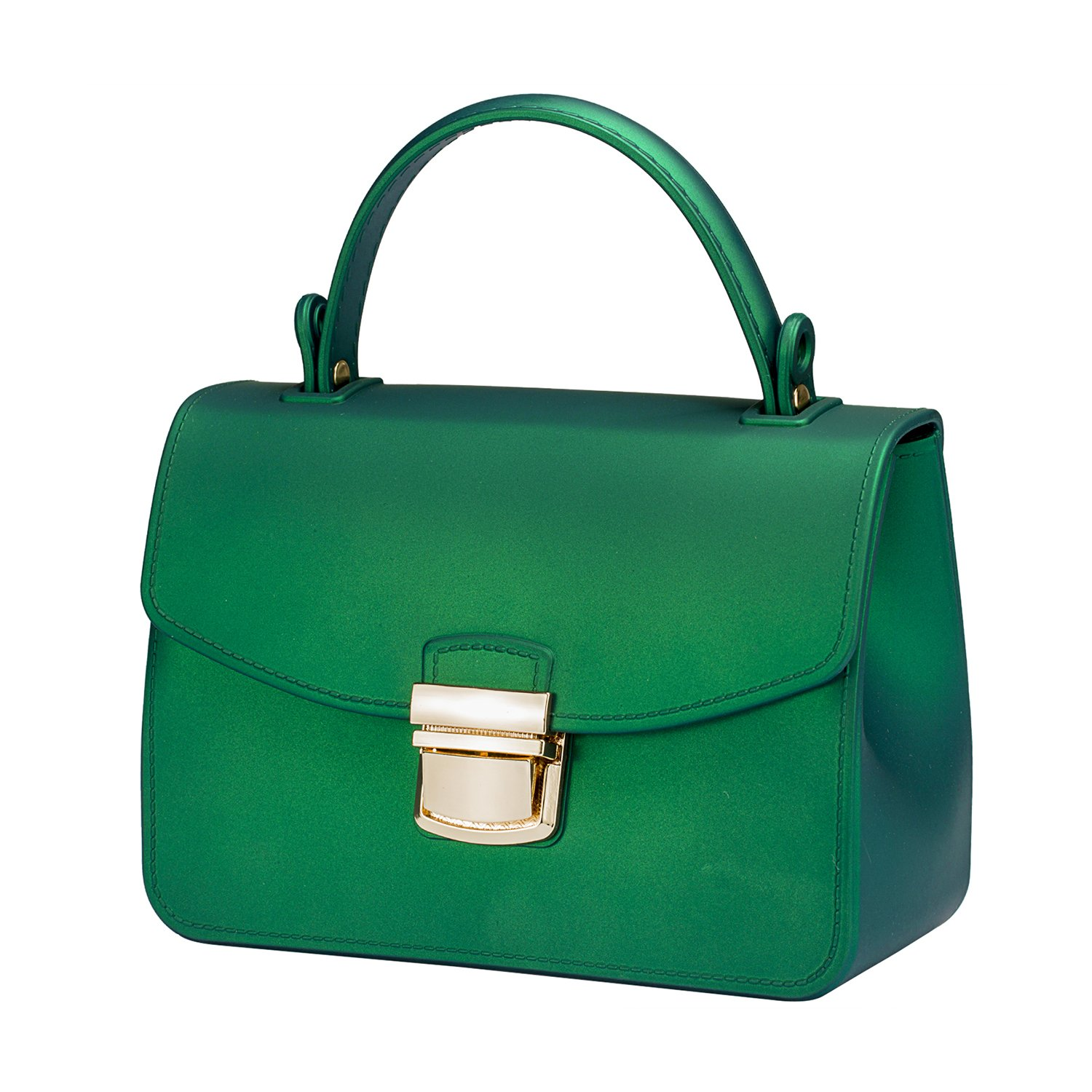 Small Top Handle Handbags Jelly Satchel Bags for Women Tote Purse - Green by Chrysansmile (Image #2)