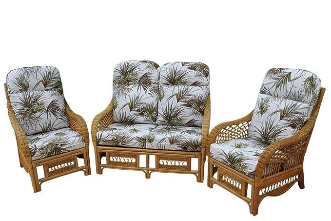 Set de muebles de terraza interior Portofino Cane, 2 sillones y 1 sofá, tela con estampado de palmas: Amazon.es: Hogar