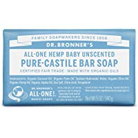 Dr. Bronner's Organic Bar Soap Baby, Unscented at Least 70% Organic, 5 Ounce