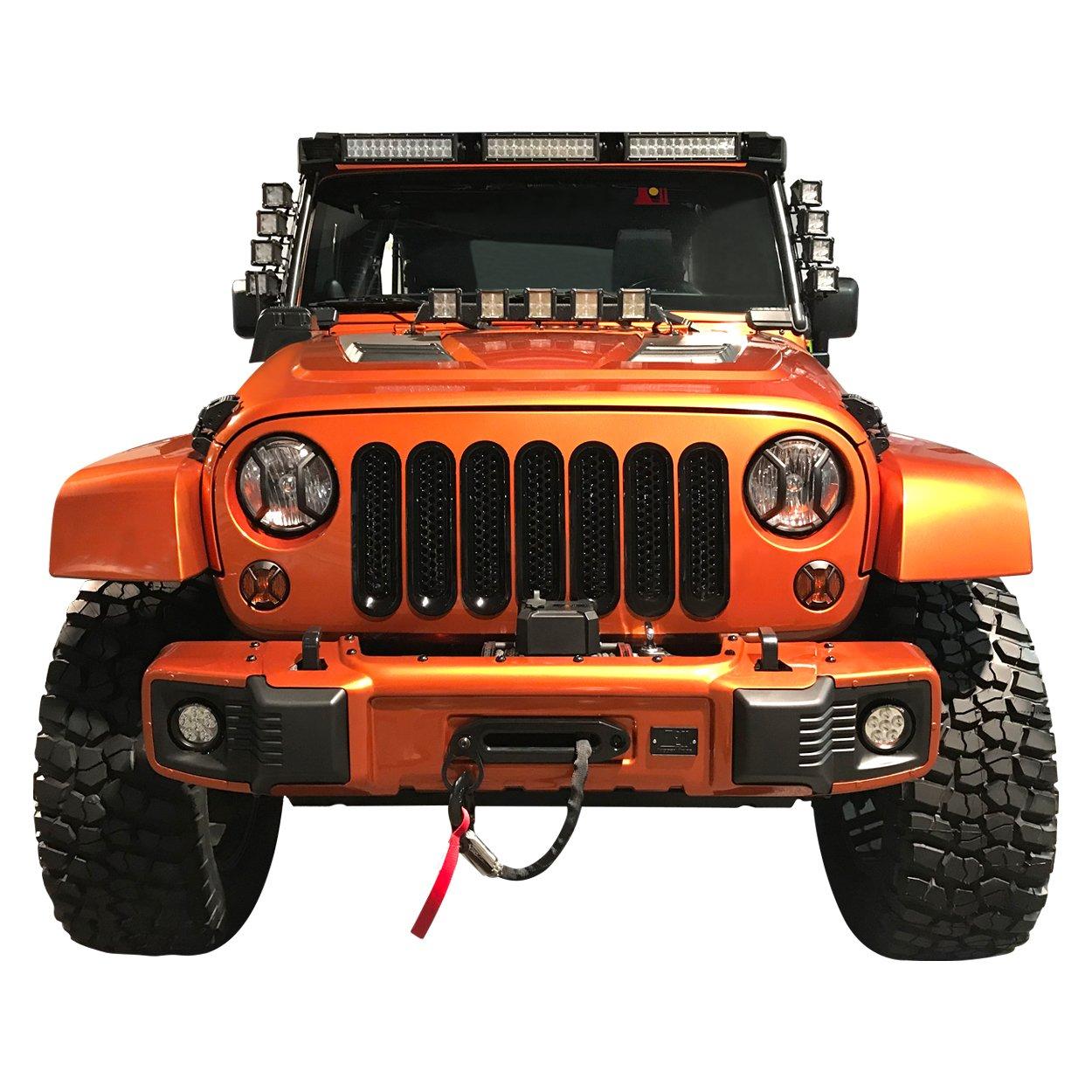 Allinoneparts 2007-2018 Jeep Wrangler JK JKU Grill Inserts Grille Inserts Glossy Black Jeep Wrangler Accessories JK JKU /&Unlimited Rubicon Sahara Sports,ABS 7 Pcs