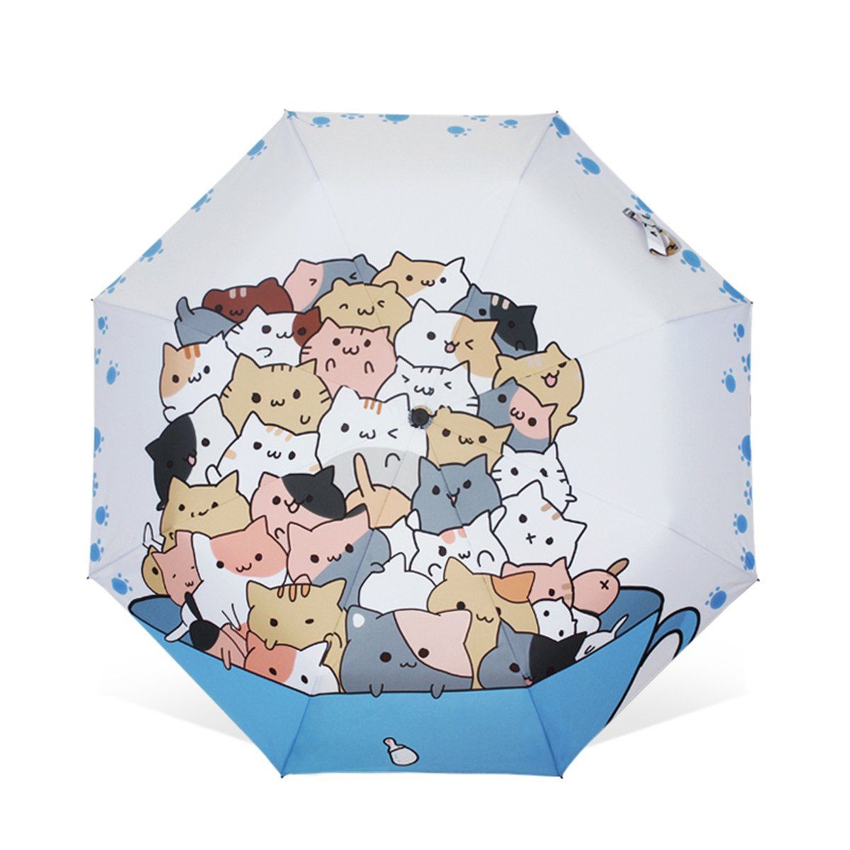 Artistic Umbrella Light-weighted Folding Umbrella with Anti-UV and Windproof Funtions Suitable for Both Sunny and Raining Days- Available In 5 Patterns (Cup Cat)