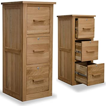 arden solid oak furniture three drawer lockable filing cabinet