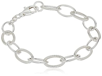 c3612c9a5fb Image Unavailable. Image not available for. Color: Sterling Silver Twisted  and Polished Oval Link Bracelet ...