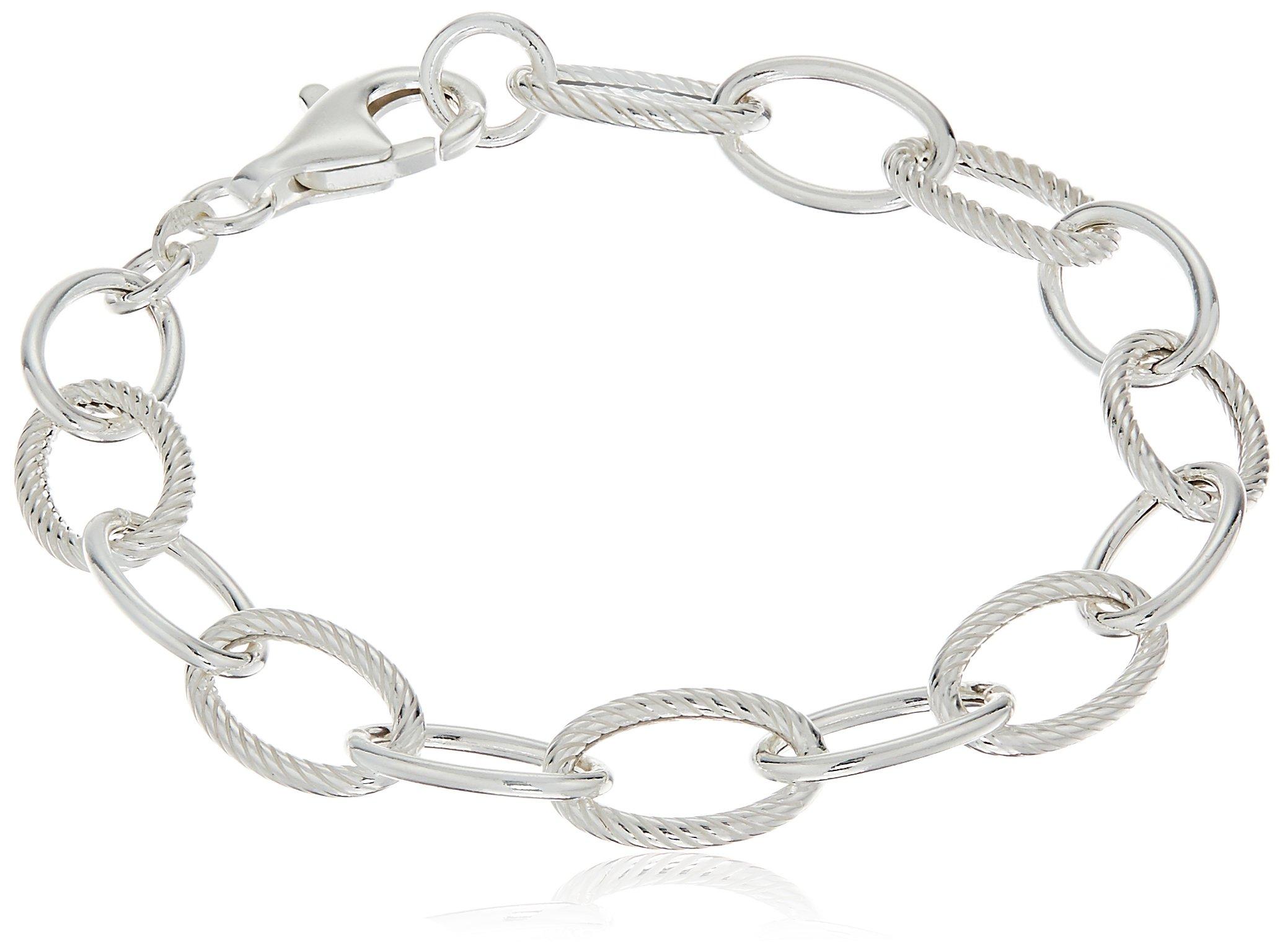 Sterling Silver Twisted and Polished Oval Link Bracelet, 7.5''
