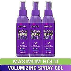 Aussie Spray Gel, with Bamboo & Kakadu Plum, Headstrong Volume, 5.7 fl oz, Triple Pack