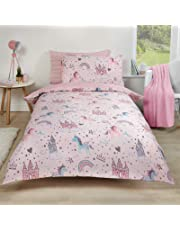 Dreamscene Unicorn Kingdom Duvet Cover and Pillowcase Kids Pink Star Bedding Set