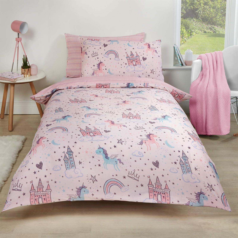 Dreamscene Unicorn Kingdom - Juego de Funda nórdica y Funda de Almohada (polialgodón, 50% algodón), Color Rosa: Amazon.es: Hogar