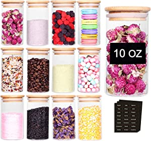 Tzerotone 12 Pcs Glass Spice Jars - 10oz Empty Small Glass Bottles with Bamboo Airtight Lids and Labels - Thicken Seasoning Spice Containers for Kitchen Organization and Storage
