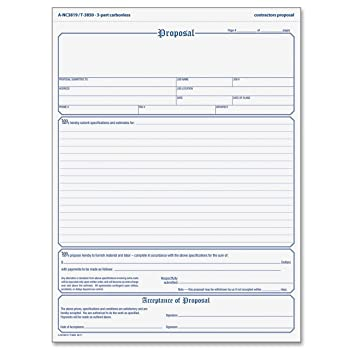 Amazon.Com : Tops Proposal Form, 3-Part, Carbonless, 8.5 X 11