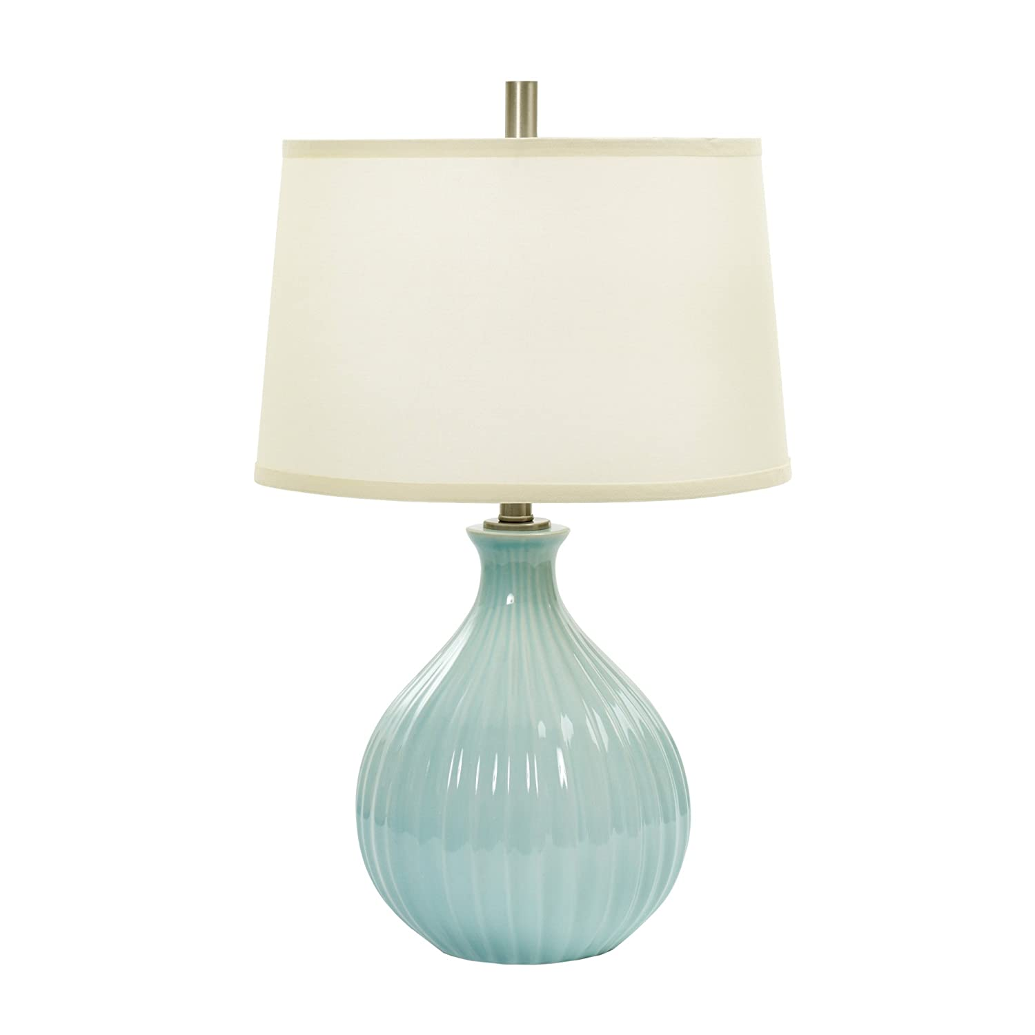 Fangio Lighting W-MR8907SPA BLUE CR 26 Ceramic Table Lamp with Ripple Design Spa Blue Crackle