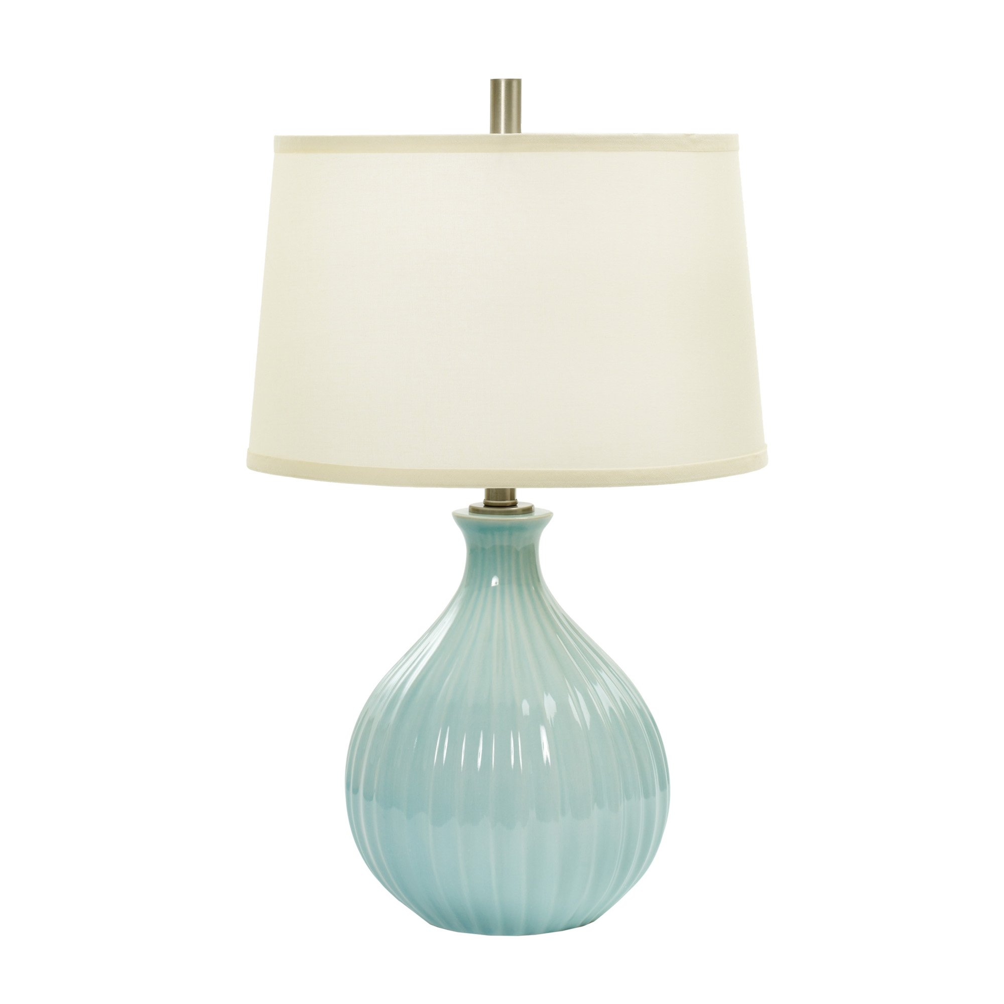 Fangio Lighting W-MR8907SPA BLUE CR 26'' Ceramic Table Lamp with Ripple Design, Spa Blue Crackle