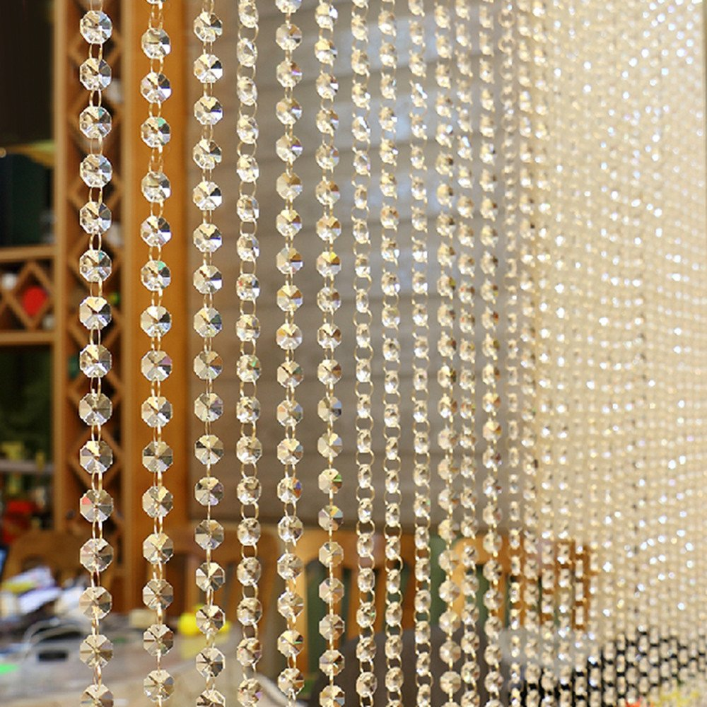 Tuscom 1M Glass Butterfly Design Crystal Curtain,Crystal Ball and Pendant,for Living Room Bedroom Window Decor (Clear)