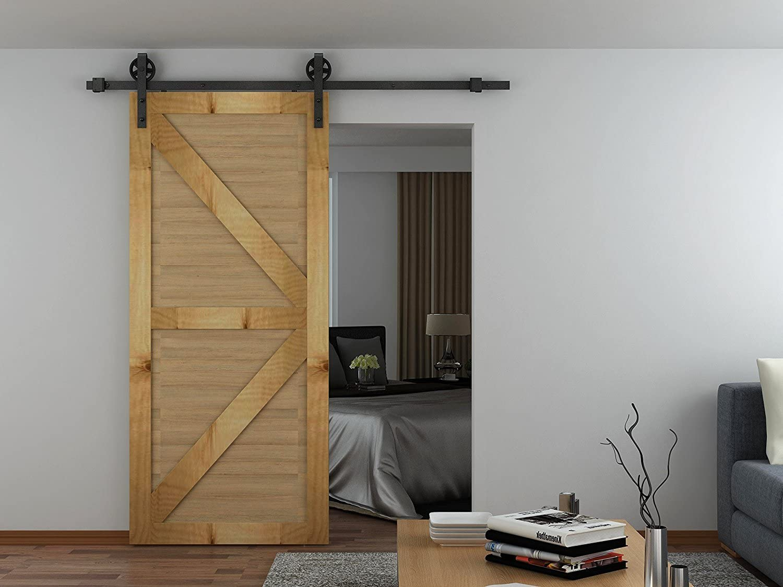 Kit de montaje de puerta corredera única estilo granero, de la ...