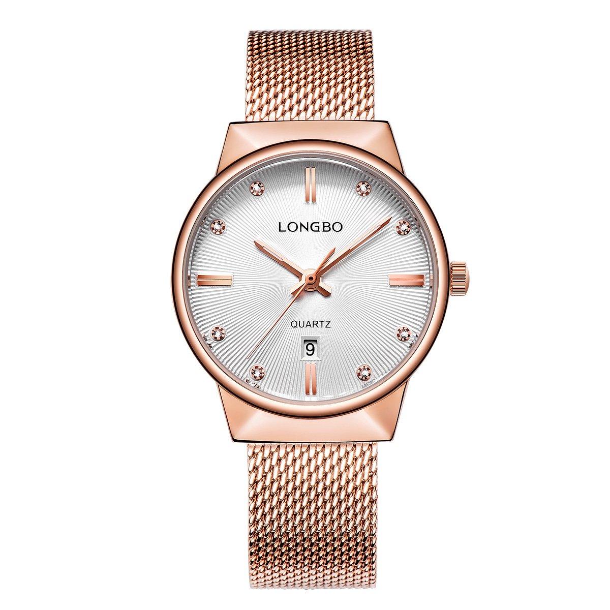 LONGBO Luxury Women's Rose Gold Metal Mesh Strap Analog Quartz Business Watch Auto Date Calendar Elegant Watch Waterproof Rhinestone Dial Wristwatch For Woman