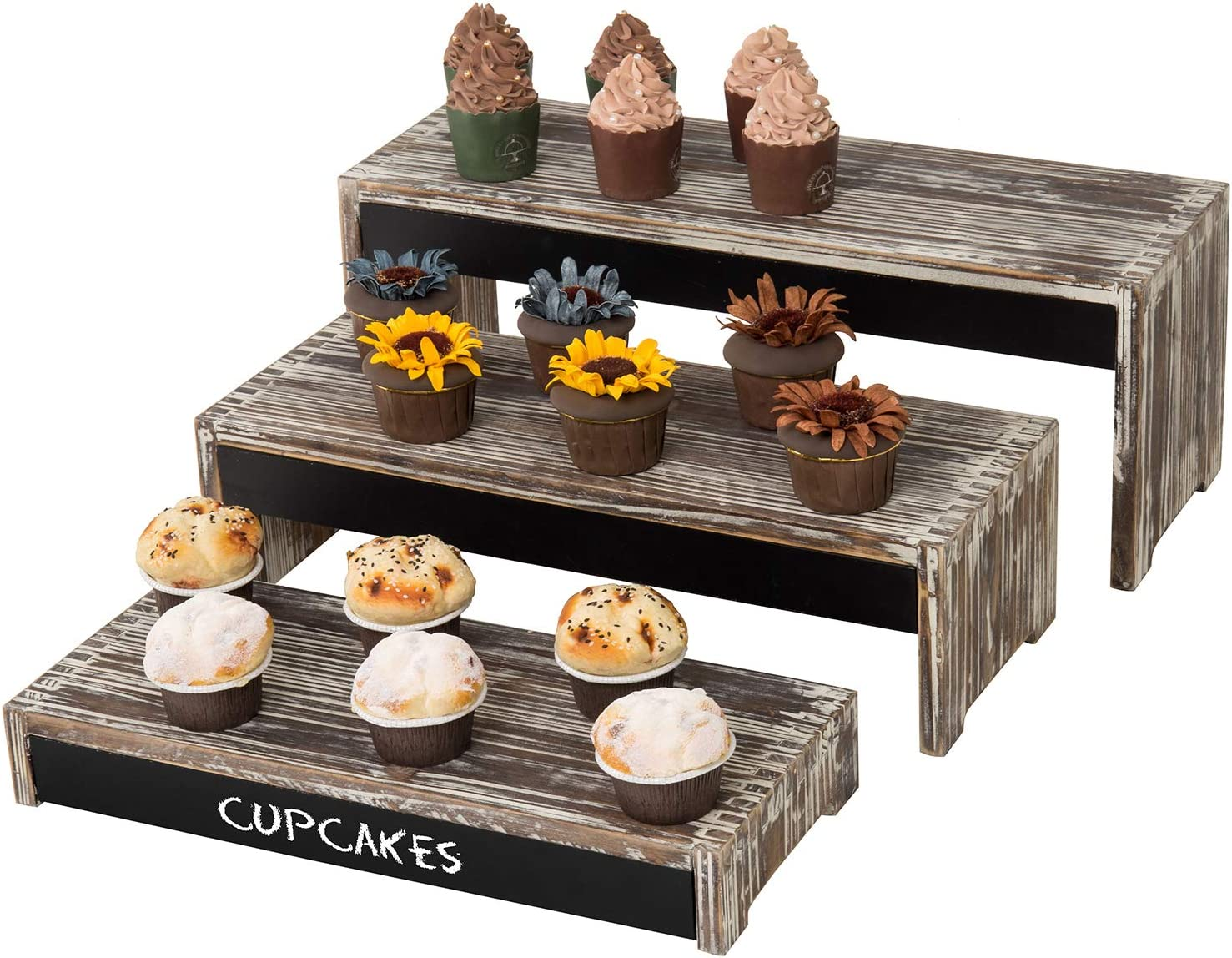 MyGift Rustic Torched Wood Commercial Retail Merchandise Display Risers/Cupcake Dessert Stands with Chalkboard Surfaces, Set of 3