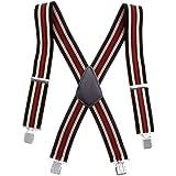 Bretelles de pantalon ajustables pour hommes et élastique noir large de 50 mm, durable, bretelles en forme de X avec clips en métal solide - lourde taxe