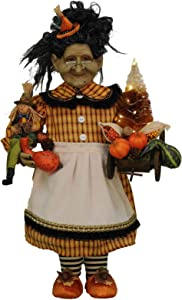 Karen Didion Originals Lighted Fall Harvest Witch Figurine, 21 Inches - Handmade Halloween Holiday Home Decorations and Collectibles