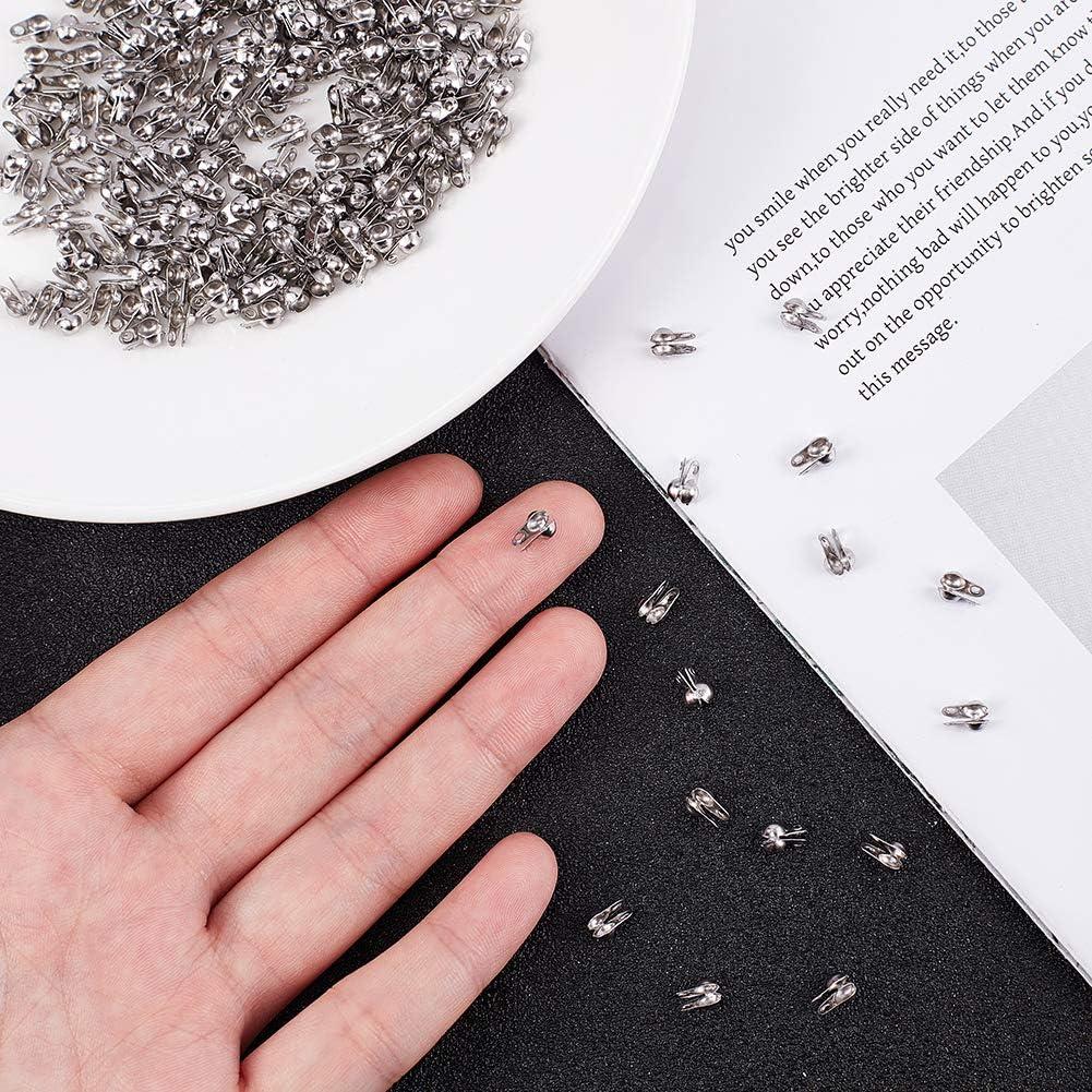Cubiertas de Nudos para Nudos Y Manualidades Puntas de Abalorios Plegables UNICRAFTALE 800 Pieza Extremos de Acero Inoxidable Tapas Abiertas Extremos de 3 mm de Di/ámetro Interior