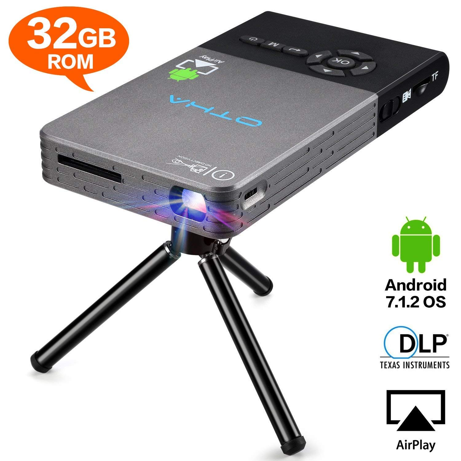 OTHA Mini Proyector, Portátil DLP LED Video Proyectors , 32GB Rom ...