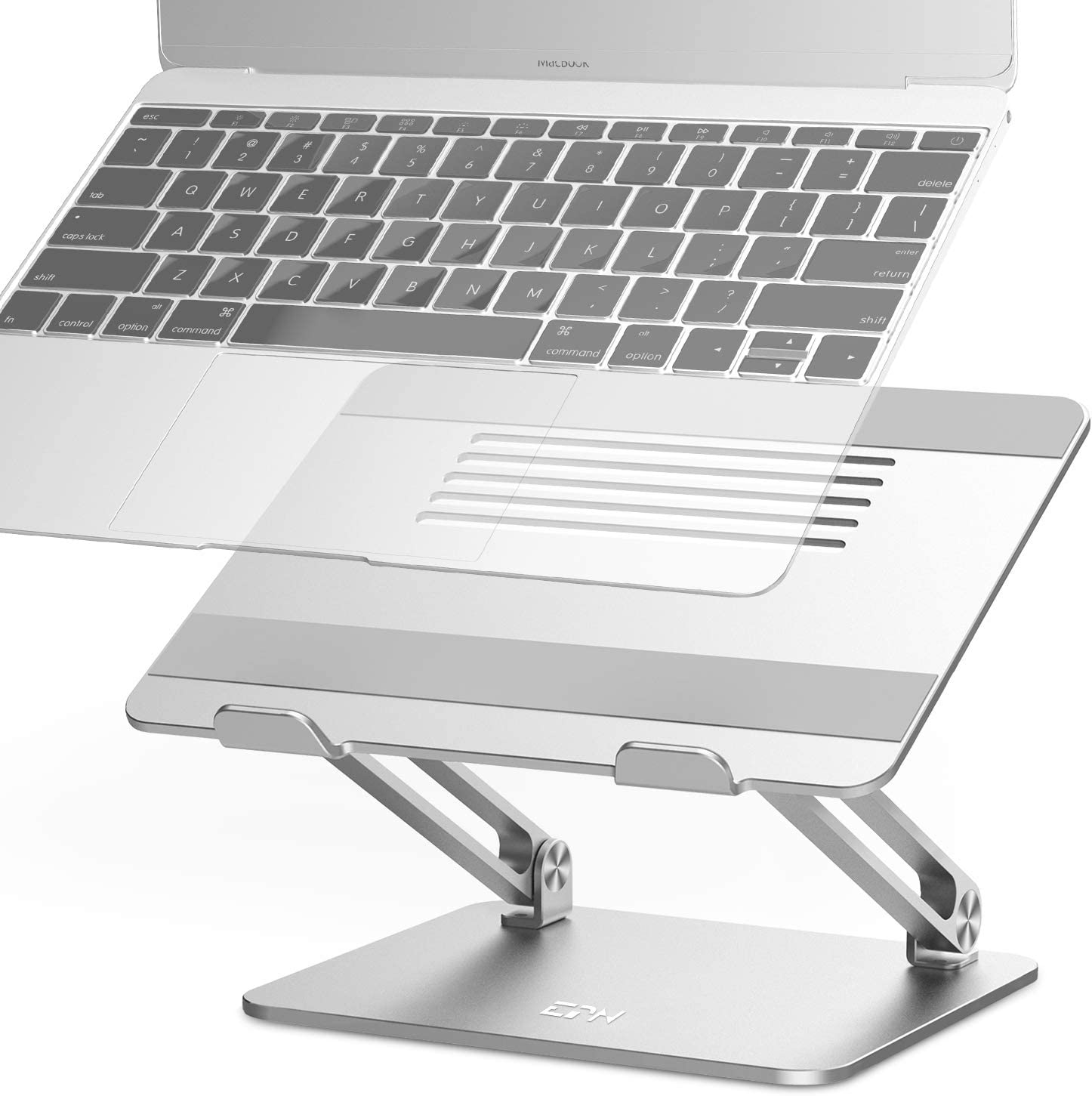 Adjustable Laptop Stand, EPN Laptop Riser with Heat-Vent to Elevate Laptop, Aluminum Notebook Holder Compatible for MacBook Pro/Air, Surface Laptop, Dell XPS, HP, Samsung, Lenovo, and Other 11-17.3 In