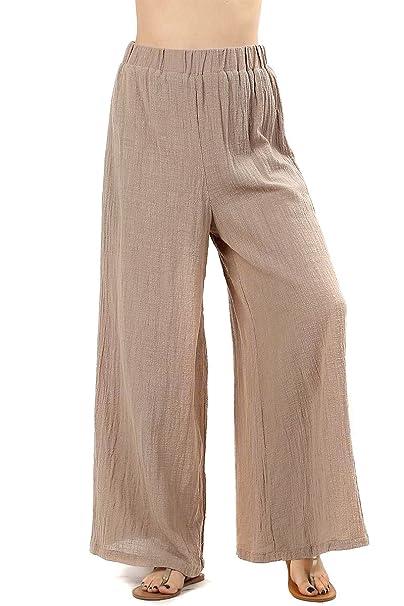 43669c7f72a Modern Kiwi High Waisted Cotton Gauze Wide Leg Palazzo Pants with Lining  (S-XL) at Amazon Women s Clothing store
