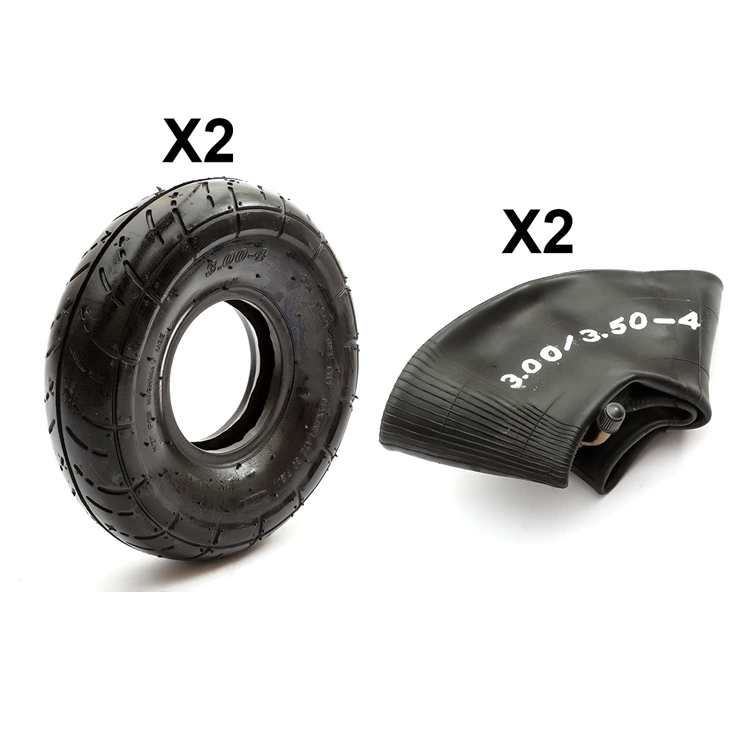 Tyre & Inner Tube 3.00-4 Treaded Petrolscooter Trade Pack x 2