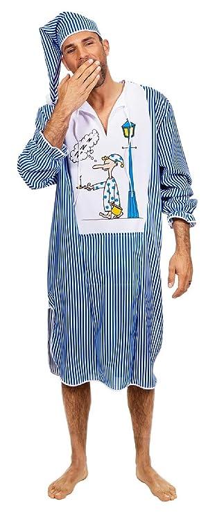 f45a726447 W5367-50 blau-weiß Herren Nachthemd Schlafwandler Kostüm mit Mütze Gr.50