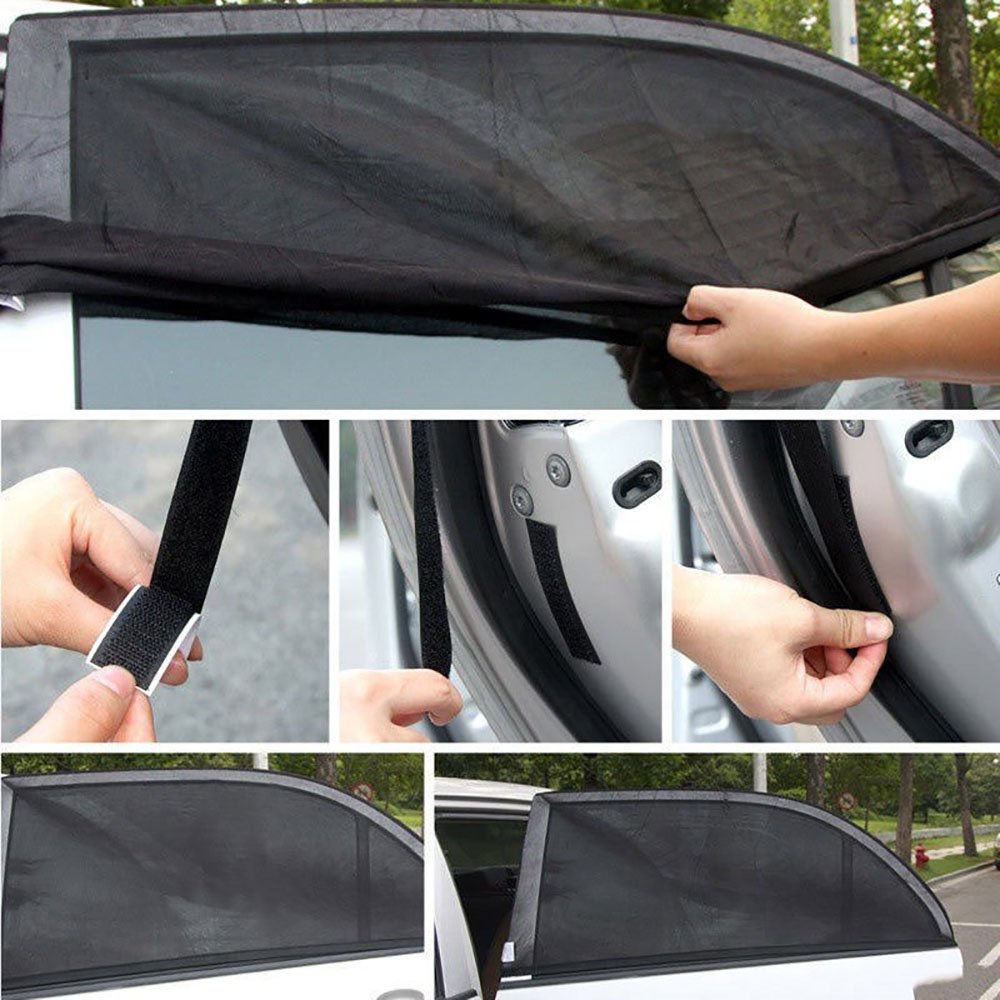 FREESOO Car Sun Shade Front Rear Window Full Set 4 pcs UV Cover Protector Car Window Blinds Keep Car Cool for Baby Kids Children