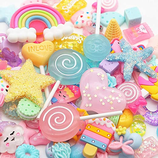 Heart shaped donut Resin Slime Charms cabochons Ornament or Scrapbook DIY Crafts RCA316